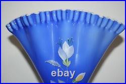 Vintage Fenton Cased Art Glass Fan Vase Hand Painted By Jo Reynolds 13 Tall