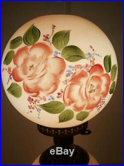 Vintage GWTW style 21 tall withchimney Hand painted Roses Hurricane Parlor Lamp