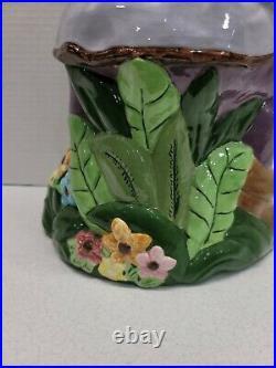 Vintage Garden Gnome 17 Tall Ceramic Hand Painted Purple Hat & Jacket EUC