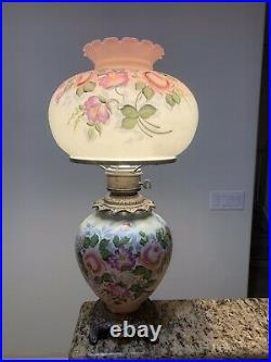Vintage Gone With the Wind Hurricane Parlor Table Lamp Hand Painted 27 Tall