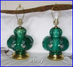 Vintage Green Hand Painted Floral Glass Table Lamps Wildflowers Fenton 24 Tall