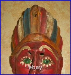 Vintage Guatemalan Mask Hand Carved Hand Painted Wood Folk Art 9.25 Tall