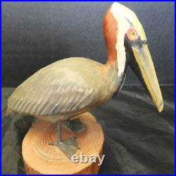 Vintage Hand Carved Folk Art Signed Clem Wilding 6 1/4 Tall Pelican Bird