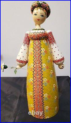 Vintage Hand Carved & Painted Wood Russian Lady 11 3/4 Tall