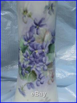 Vintage Hand Painted Porcelain Vase Purple Violets & Gold 11-1/2Tall Austria