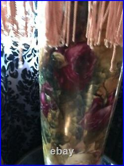 Vintage Hand Painted Roses Tall Lamp With Gorgeous Shade