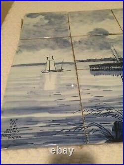 Vintage Hand Painted delft tile mural excellent condition 18 tall x 24 wide