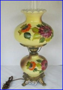 Vintage Hand-painted Gone with the Wind Lamp WORKING Yellowith withFlowers 23 Tall