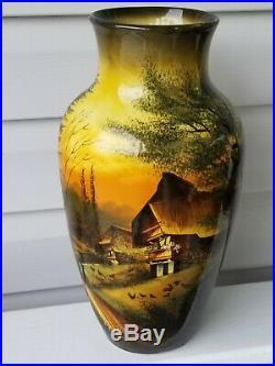 Vintage Handpainted Smf Schramberg Majolika Handgemalt Vase 15 1/2 Inches Tall