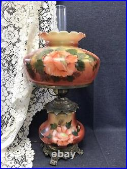 Vintage Hedco 3 Way GWTW Table Lamp Hand Painted Orange Floral Design 22 tall