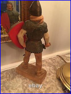 Vintage Henning Norway Hand Carved 10 tall Viking Man with Shield & Sword