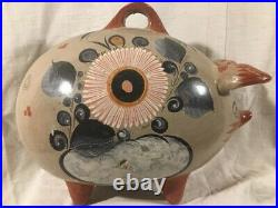 Vintage Huge Hand Painted Burnished Pottery Pig Bank Tonala Mexico 13+ tall