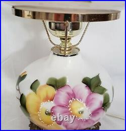 Vintage Hurricane Gone With The Wind Lamp Hand Painted Floral Flowers 20 Tall