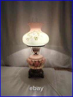 Vintage Hurricane Lamp Hand Painted Blue Floral Pink Roses 22in Tall 1960's