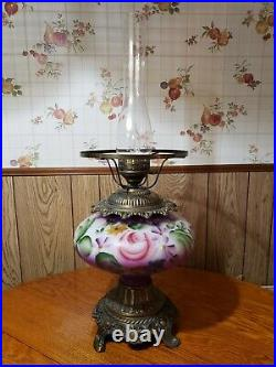 Vintage Hurricane Lamp Hand Painted Purple Floral Pink Roses 30 Tall 1960's