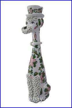Vintage ITALIAN Pottery SPAGHETTI POODLE Figure 16 Tall Hand Painted 1950's