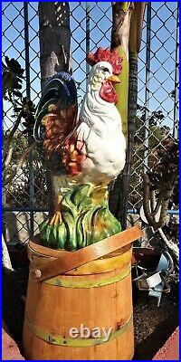 Vintage Italian Ceramic Hand Painted Rooster 18 1/2 Inches Tall
