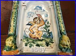 Vintage Italy Ceramic Hand Painted Italian Pottery Cherub Wall Pocket, 17 Tall
