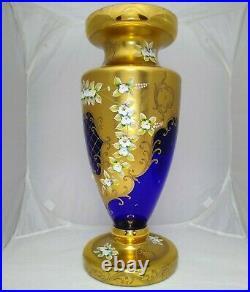 Vintage Large Bohemian Czech Cobalt Blue Enamel Hand Cut Crystal Vase 20 Tall
