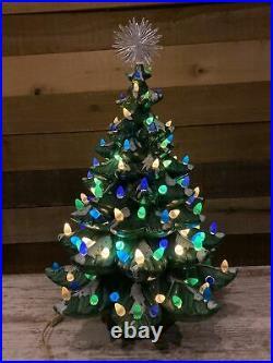 Vintage MCM ATLANTIC MOLD Lighted Ceramic Christmas Tree 24 tall Hand Painted