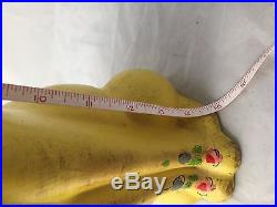 Vintage Made in Italy Handpainted Yellow Cat Flowers 15 Tall Skinny UNIQUE