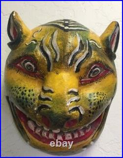 Vintage Mexico Mask Hand Carved Hand Painted Tiger Folk Art 8 Tall x 7 Wide