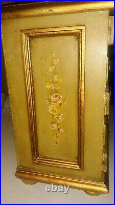 Vintage Mini / Salesman Sample Hand painted Floral Chest of Drawers 18 tall