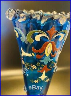 Vintage Moser Tall Art Glass Vase Gilt Enameled Glass Embellished Crimped #41