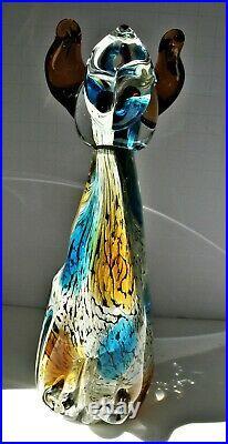 Vintage Murano Hand Blown Art Glass Tall Sitting Puppy Dog Figurine Paperweight
