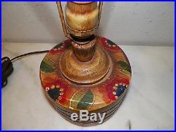 Vintage Original Coronado Wooden Hand Painted Table Lamp Circa 1930 15 1/2 Tall