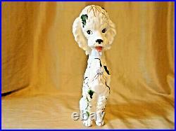 Vintage Poodle Figurine 14 Tall 50's 60's MCM Ceramic Hand Painted Wales Japan
