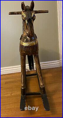 Vintage Rocking Horse Hand Carved-Hand Painted-30 Tall