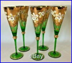 Vintage Set 5 Bohemian Tall Glasses Green Heavy Gold Hand Painted Enamel Flowers