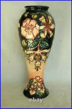 Vintage Tall Moorcroft Art Pottery Hand Painted 1993 Floral Vase Red & Black