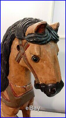 Vintage Wooden Carved Platform Rocking Horse Hand Painted 33in Long 27in Tall