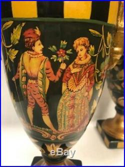 Vintage hand painted Pair Jeanne Reeds tall vases Cherubs Hollywood Regency urn