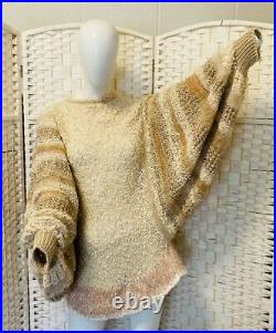 Vintage multi rayon silk hand knit sweater with dolman sleeves