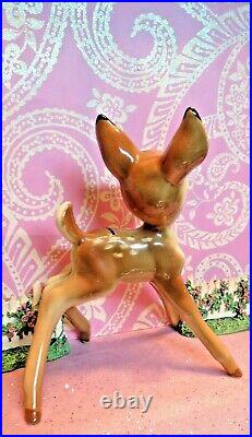 Vtg Anthropomorphic PRANCING Woodland Fawn Deer BAMBI W LABEL 8 INCHES TALL Shaw