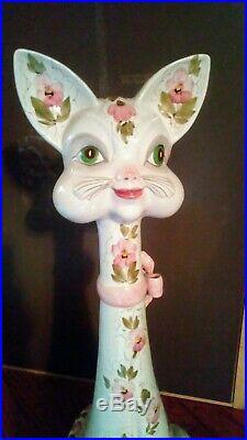 Vtg Folk Art MID Century Modern Hand Painted Pottery 29 Tall Cat Statue Italy