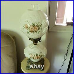 Vtg GONE WITH THE WIND hand painted milk glass 22 tall with hurricane WORKS 3way