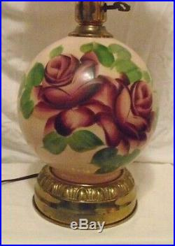Vtg Gwtw Hand Painted Large Rose Design Ball Shade Parlor Table Lamp 22.5 Tall