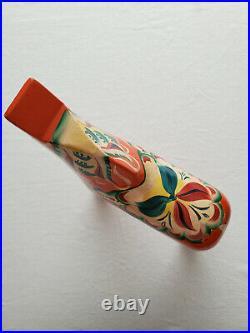 Vtg Large Swedish Dala Horse Folk Art Hand Painted Orange Wood 12.5 Tall 3lbs