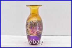 Vtg Robert Held Signed Iridescent Luster Studio Artist Glass Vase 6 tall