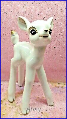 Vtg White Christmas Woodland Deer Reindeer SET W Gold Tails Hooves Nine IN TALL