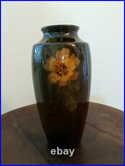 WELLER LOUWELSA VASE HAND PAINTED BROWN FLORAL DESIGN 8 inch's tall