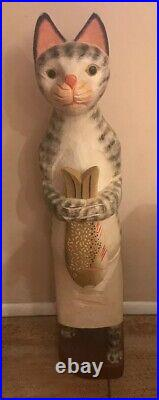Wonderful 36 Hand carved Painted Tall Wooden Kitchen Cat Making Fish