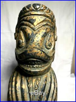 Wood Carved Foo Dog Temple guard statue Mid Century Sarreid Ltd 15'' tall