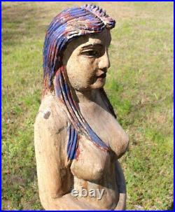 Wooden Hand Carved Mermaid Standing Statue Folk Art Painted Nautical 4 Feet Tall
